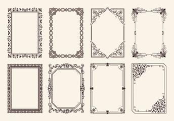 Decorative Frames Set of Curved Graphic Ornament Wall mural