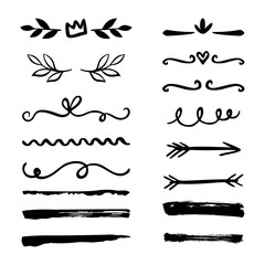 Hand drawn borders, brackets, swirls, dividers set. Vector ink brush elements.