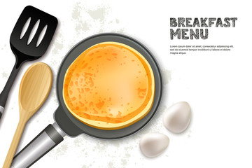 Cooking pancake vector illustration. Top view realistic pan, spatula and ingredients isolated on white background. Recipe and breakfast menu concept.