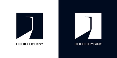 Square with door ajar as crane for logo