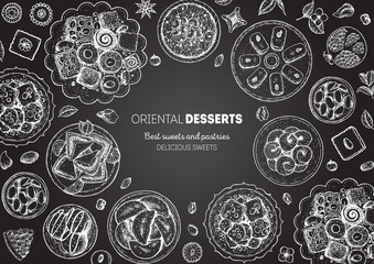 Oriental sweets vector illustration. Middle eastern food, hand drawn sketch. Linear graphic. Food menu background. Engraved style design template.