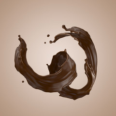 Wall Mural - 3d render, chocolate splash, wavy jets, liquid clip art collection, isolated design elements