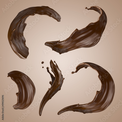Wall mural 3d render, chocolate splash, wavy jets, liquid clip art collection, isolated design elements