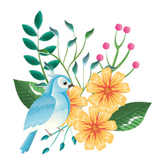 floral decoration and bird vintage style vector illustration design