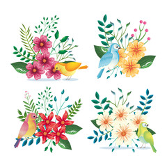 floral decoration and birds vintage style vector illustration design