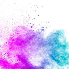 abstract explosion of blue purple dust on white background.Abstract blue purple powder splatter on white  background. Freeze motion of blue purple powder splash.