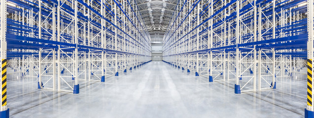 New huge distribution warehouse with high empty shelves