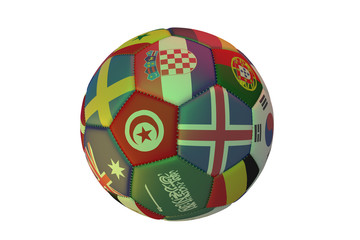 Isolated realistic football with flags of countries, in the center of Tunisia, Croatia, Iceland and Saudi Arabia, 3d rendering.