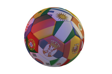 Isolated realistic football with flags of countries, in the center of Germany, Nigeria and Serbia, 3d rendering.