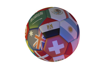 Isolated realistic football with flags of countries, in the center of Egypt, Argentina, Australia and Switzerland, 3d rendering.