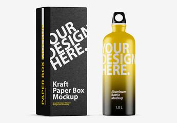 Metal Sport Bottle with Cardboard Box Mockup 1
