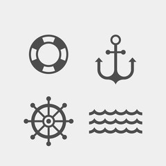 Marine flat vector icons set. Anchor, wheel, life buoy, wave flat vector icon