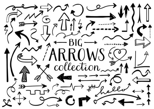 Collection of Hand Drawn Arrows - Doodles