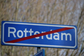 Sign which indicates that the municipality border of Rotterdam have been reached in the Netherlands