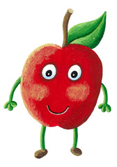 An apple character - apple with face