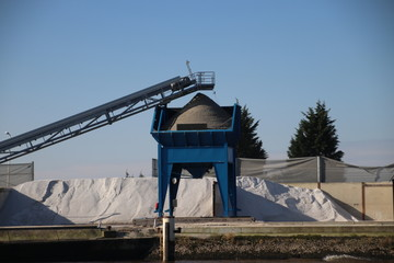 Sand hopper in Moordrecht from inland ships on Hollandse Ijssel to fill trucks