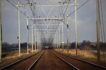 railroad track in Moordrecht in direction of Gouda