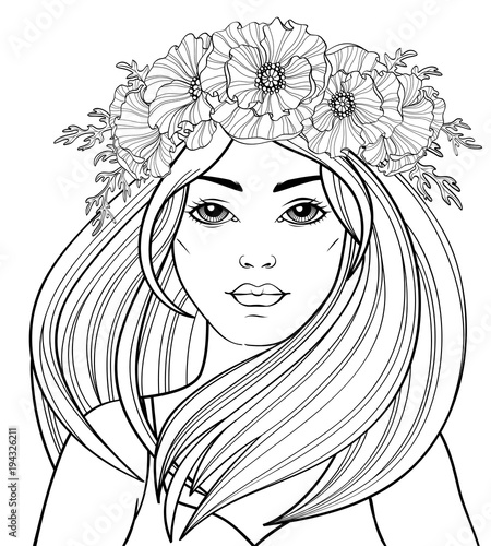 Young Beautiful Girl With Long Hair In Poppy Wreath Tattoo Or Adult