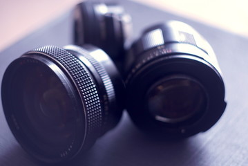 old lenses close up, focus