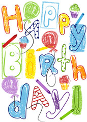 Colorful happy birthday card for kids. EPS file has global colors for easy color changes.