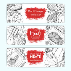 Meat top view, banner collection. Vector illustration set. Engraved design. Hand drawn illustration. Meat products design template.