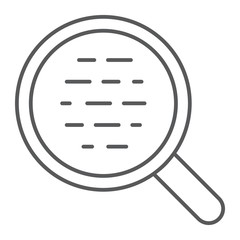 Search thin line icon, magnifier and find, optical sign vector graphics, a linear pattern on a white background, eps 10.