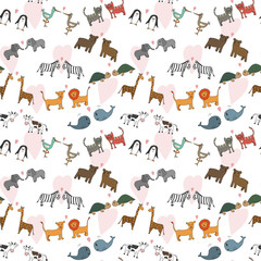 Vector seamless pattern with hand drawn cartoon animals, romantic concept, Valentine's day, ornament for backgrounds, fabrics, wrapping paper and other designs