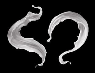 3d render, milk splash, drink clip art, liquid splashing, milky jet, white paint, element isolated on black background