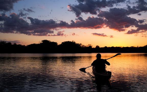 Paddling at Sunset