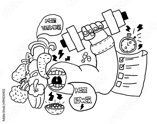 """Coloring pages healthy strong ~ """"strong hand and healthy vegetables, weightlifting and ..."""
