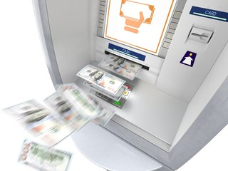 ATM machine with money banknotes flying out