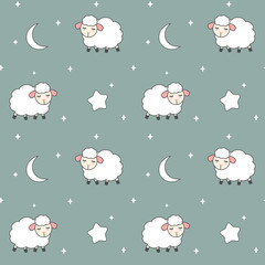 cute cartoon lovely seamless vector pattern background illustration with sheeps