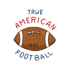 native american football. game and sport. college play. old orange ball. label or badge. engraved hand drawn in old sketch.