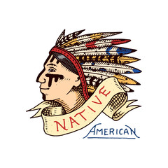 native american. old red skinned indian. label and badge. cherokee or apache, traditional chief. engraved hand drawn in old sketch.