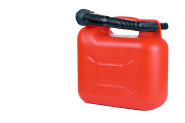 .Plastic tank for fuel is red for 5 liters. Isolated