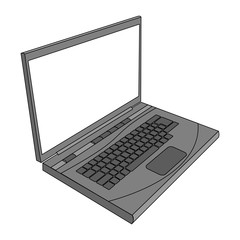 Grey laptop illustration. Laptop/computer side view illustration. Isolated on white
