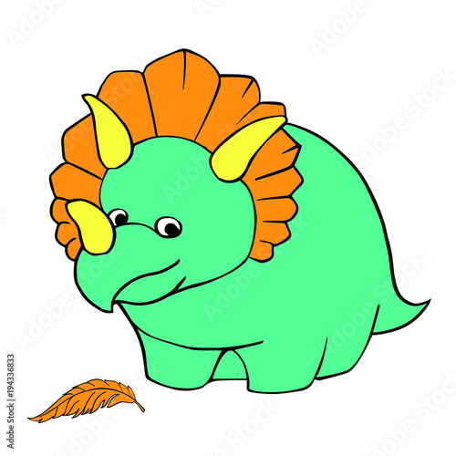 Funny Dinosaur Triceratops Children S Cartoon Character Is Blue