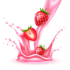 Vector realistic strawberry slice juice splash