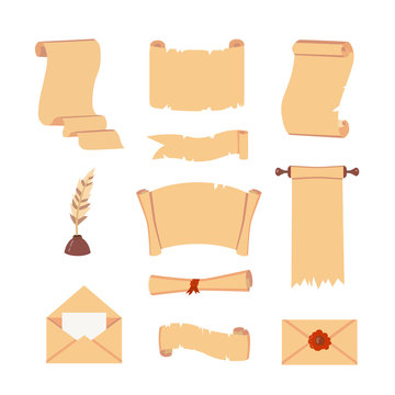 Old Paper scroll vector set. Retro document script with copyspace. Vintage blank and letter illustrations.