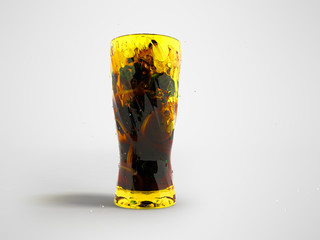 Green tea with ice and lemon in a glass with splashes in front 3d render on a gray background with shadow