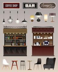 Cafe Bar Interior Set