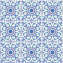 Set of 9 patterned floor tiles. Abstract geometric background. Vector illustration, seamless pattern. Portuguese floor tiles design. Floor cement tiles collection, pale pink, purple and blue colors.