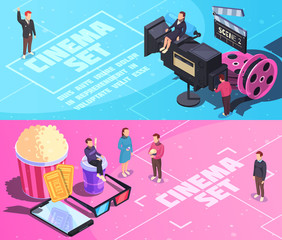 Cinema Horizontal Isometric Banners