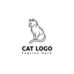 stand cat line art logo