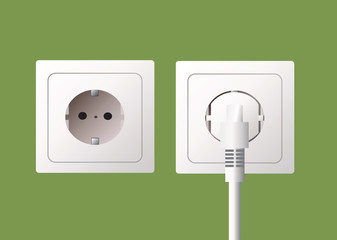 Wall socket and electric plug, vector