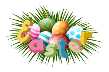 Easter eggs lie in green grass. Realistic 3d, colored with a lacy pattern,a bright Easter inscription. For congratulations and banners. The vector illustration.