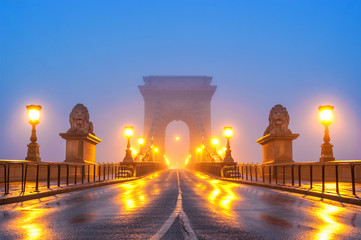 Chain bridge at night Budapest