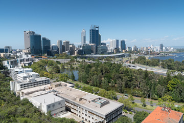 Skyline of downtown Perth, capital of Western Australia