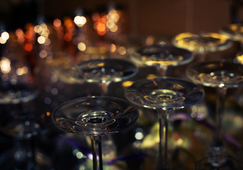glasses for wine and champagne in close-up row