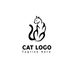 brush art sitting cat logo